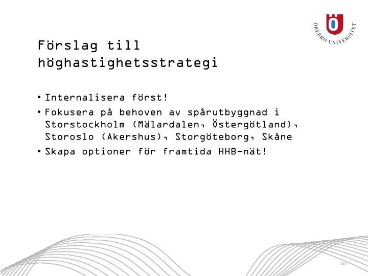 Förslag till höghastighetsstrategi