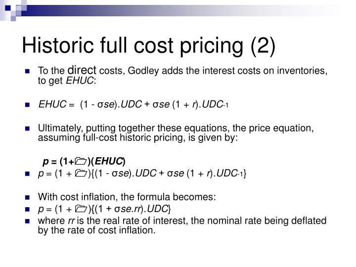 Historic full cost pricing (2)