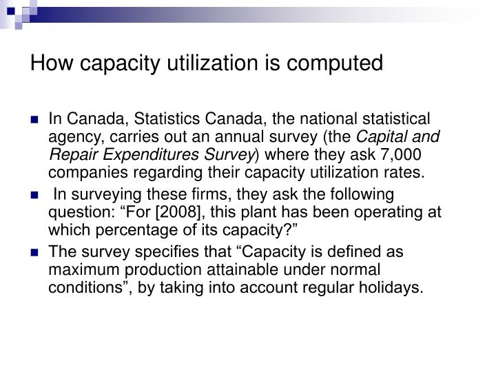How capacity utilization is computed