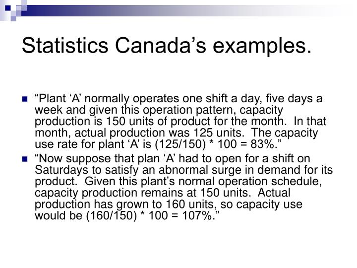 Statistics Canada's examples.
