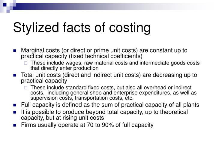 Stylized facts of costing