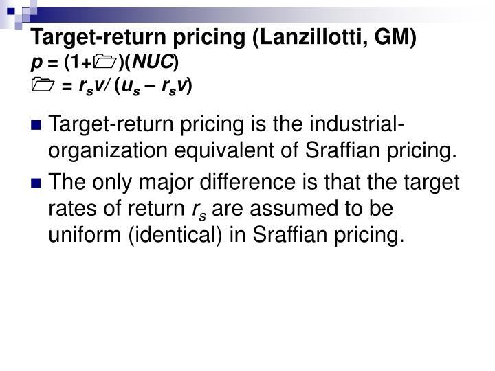 Target-return pricing (Lanzillotti, GM)