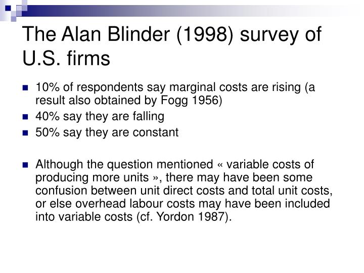 The Alan Blinder (1998) survey of U.S. firms