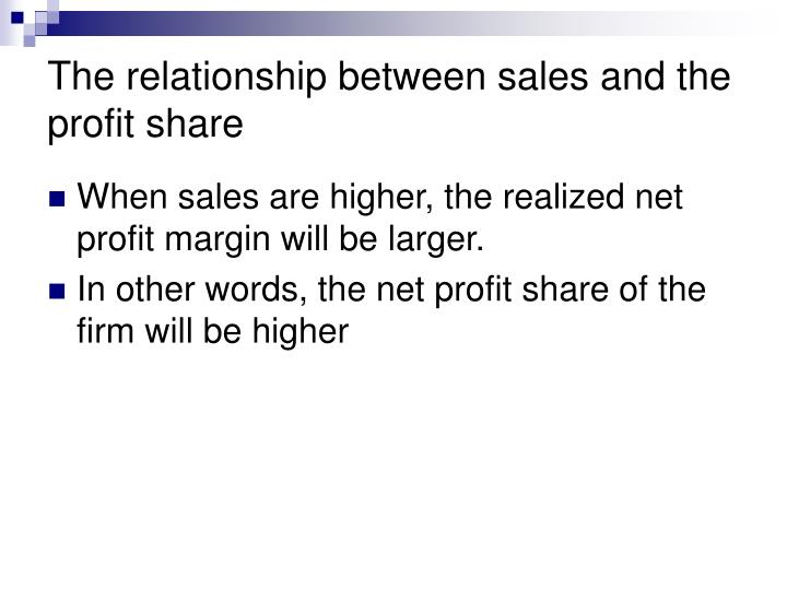 The relationship between sales and the profit share