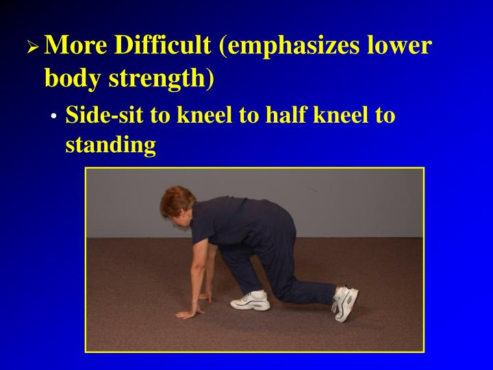 More Difficult (emphasizes lower body strength)