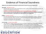 evidence of financial soundness