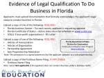 evidence of legal qualification to do business in florida