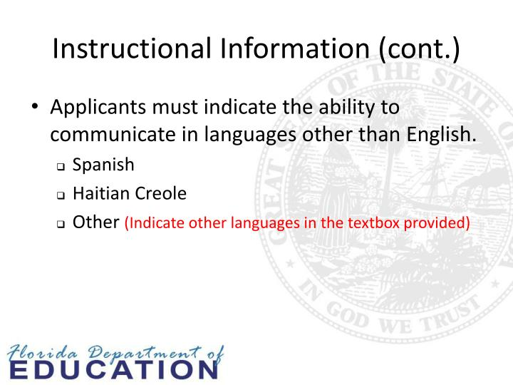 Instructional Information (cont.)