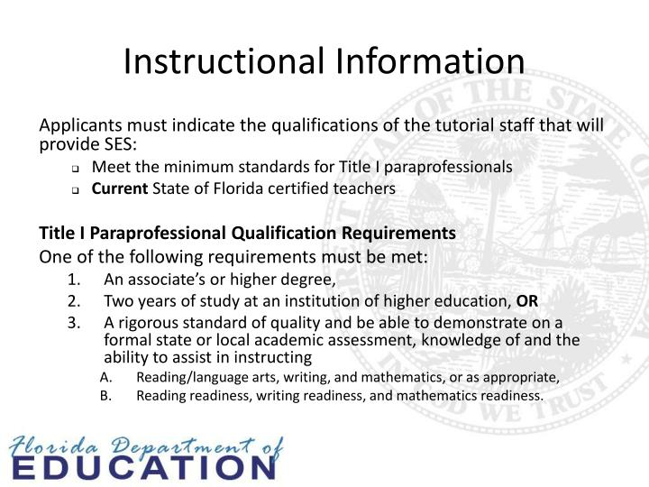 Instructional Information