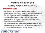 method of review and scoring requirements cont1