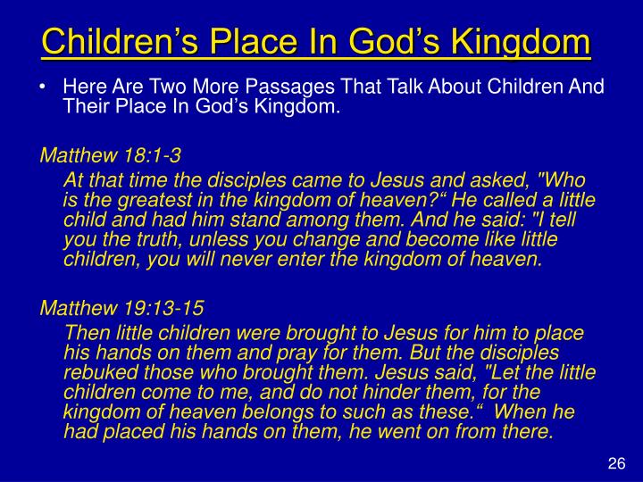 Children's Place In God's Kingdom