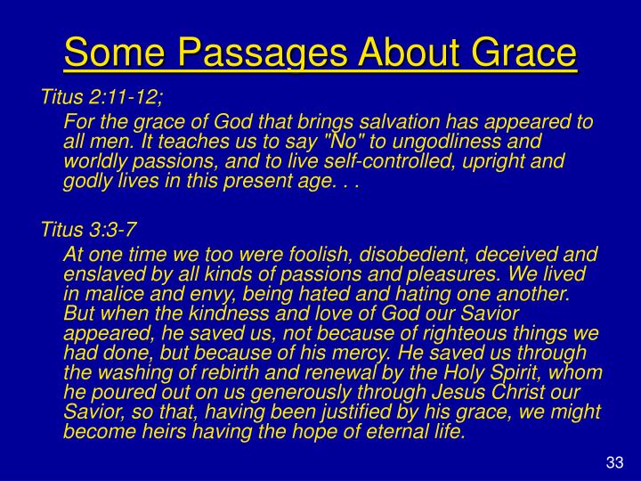 Some Passages About Grace