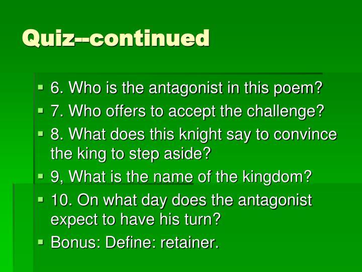Quiz--continued