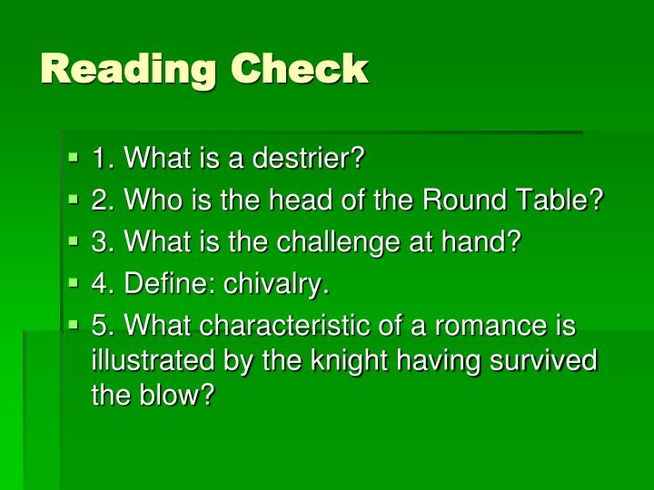 Reading Check