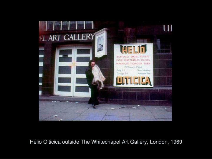 Hélio Oiticica outside The Whitechapel Art Gallery, London, 1969