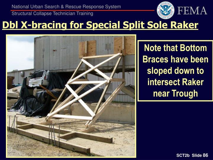 Dbl X-bracing for Special Split Sole Raker
