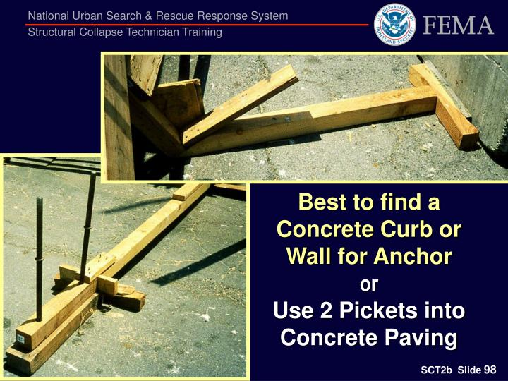 Best to find a Concrete Curb or Wall for Anchor