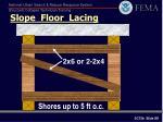 slope floor lacing