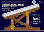sloped floor shore friction method add 2x6 flat under sole on soil