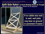 split sole raker w level bottom brace trough may be at 45 or 60 degrees shown at 60 degrees