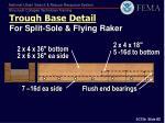 trough base detail for split sole flying raker