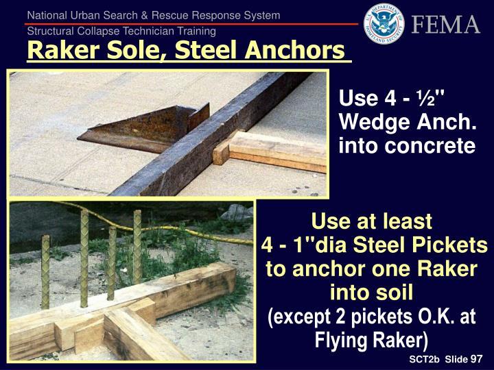 Raker Sole, Steel Anchors