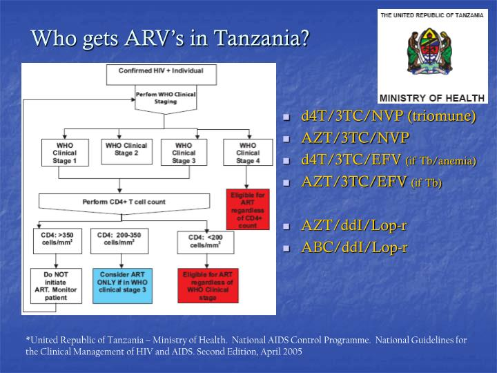Who gets ARV's in Tanzania?
