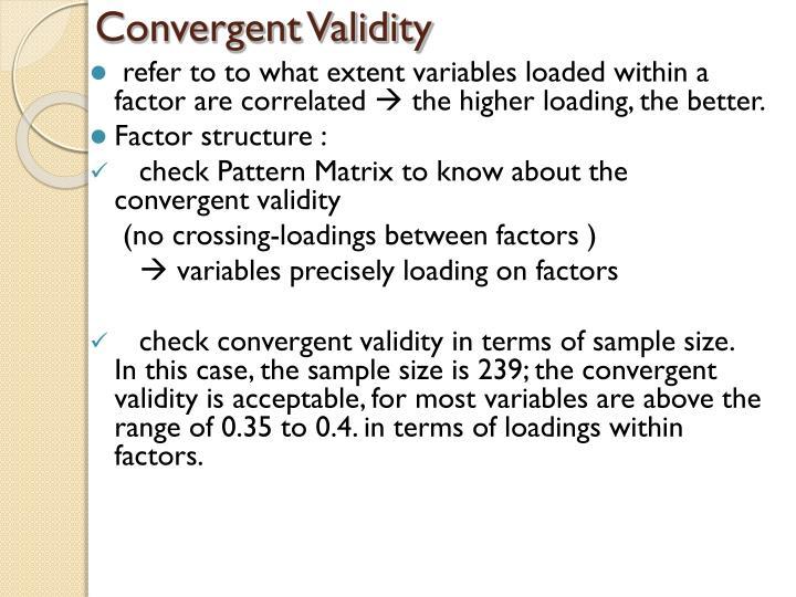 Convergent Validity