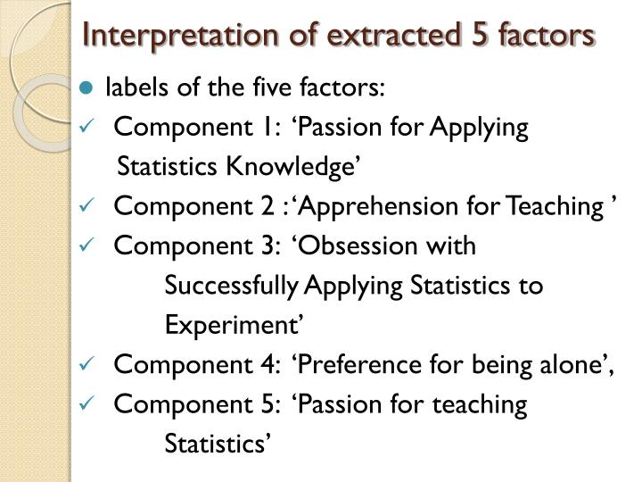 Interpretation of extracted 5 factors