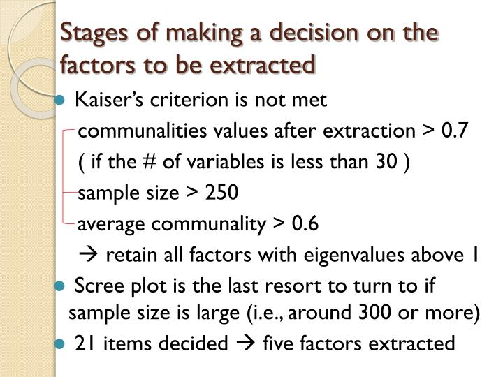 Stages of making a decision on the factors to be extracted