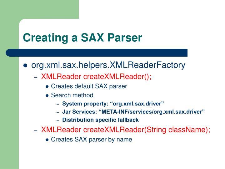 Creating a SAX Parser