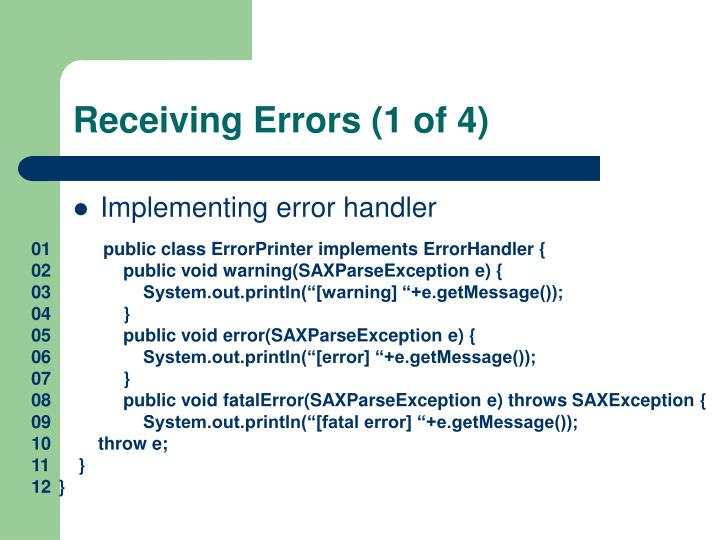 Receiving Errors (1 of 4)