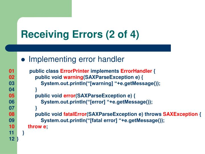 Receiving Errors (2 of 4)