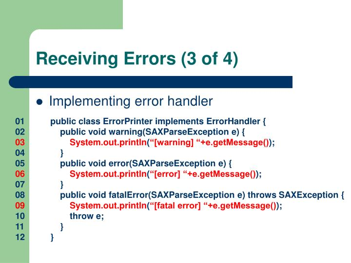 Receiving Errors (3 of 4)