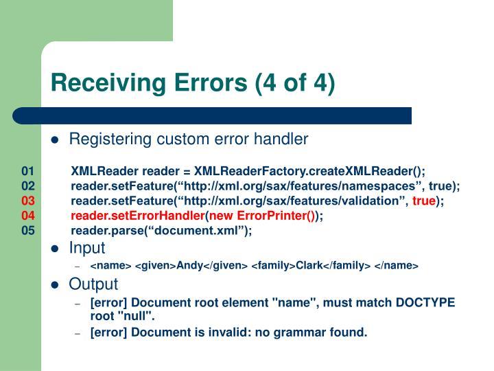Receiving Errors (4 of 4)