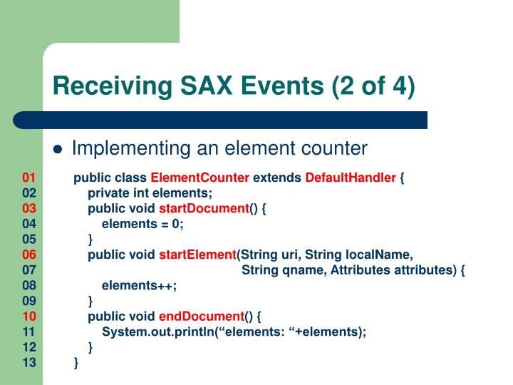 Receiving SAX Events (2 of 4)