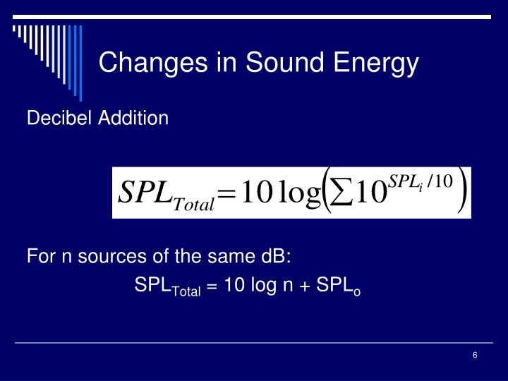 Changes in Sound Energy