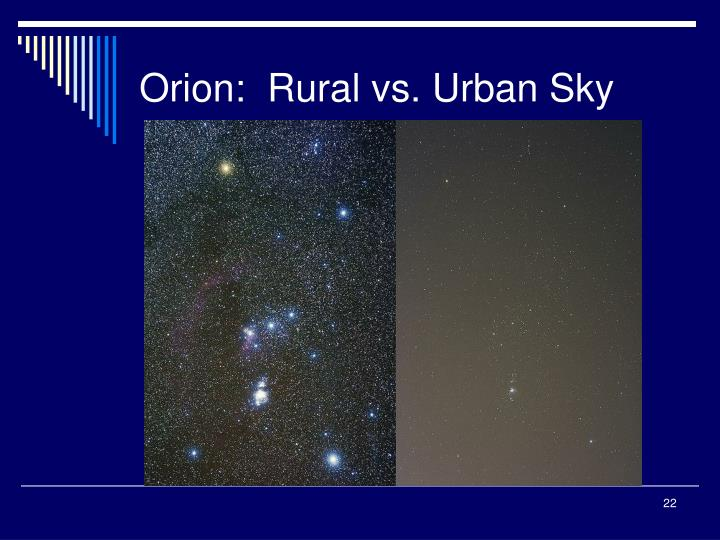 Orion:  Rural vs. Urban Sky