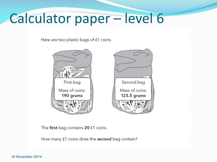 Calculator paper – level 6