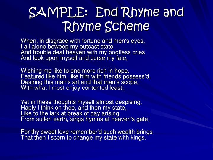 SAMPLE:  End Rhyme and Rhyme Scheme
