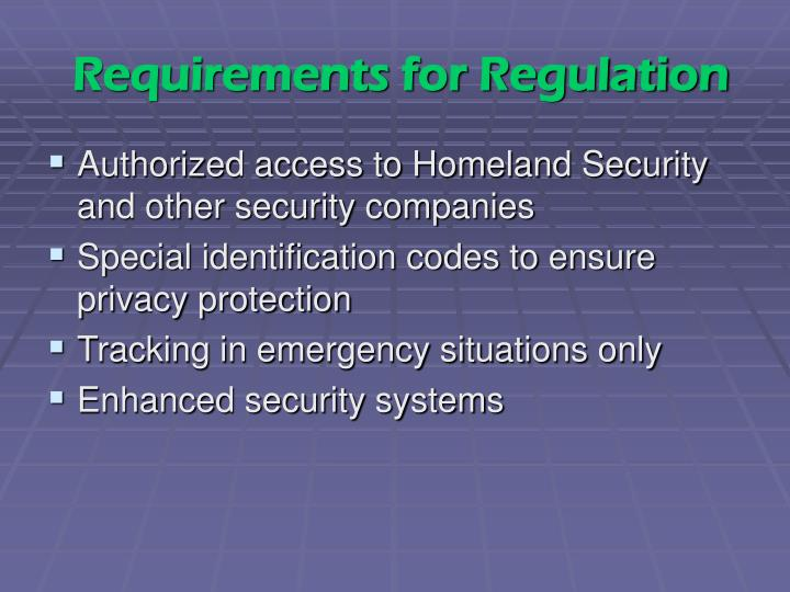 Requirements for Regulation