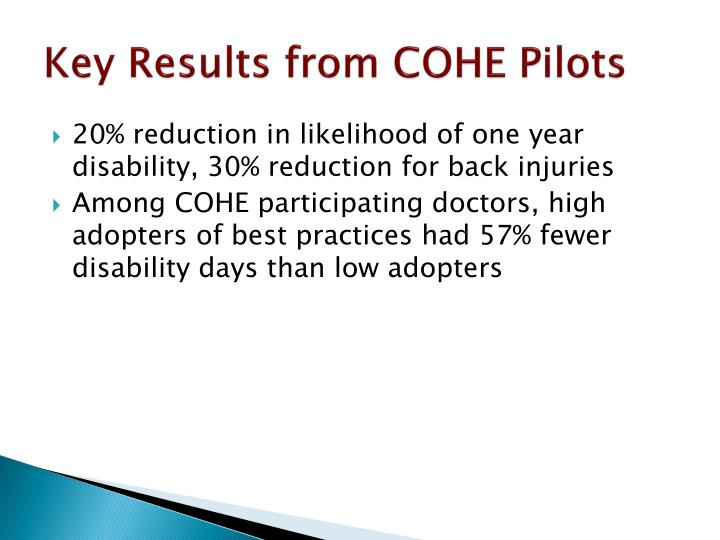 Key Results from COHE Pilots