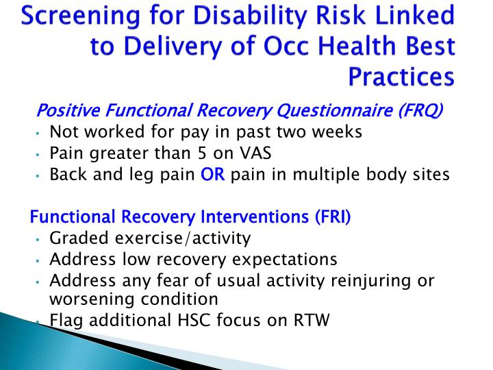 Screening for Disability Risk Linked to Delivery of