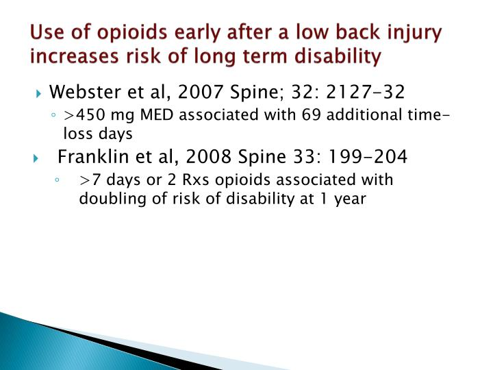Use of opioids early after a low back injury increases risk of long term disability