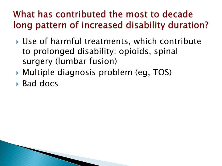 What has contributed the most to decade long pattern of increased disability duration?