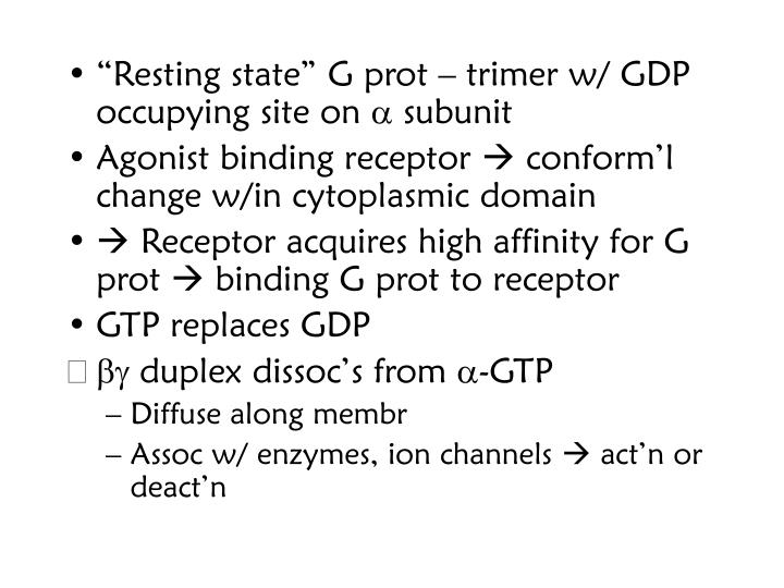 """""""Resting state"""" G prot – trimer w/ GDP occupying site on"""