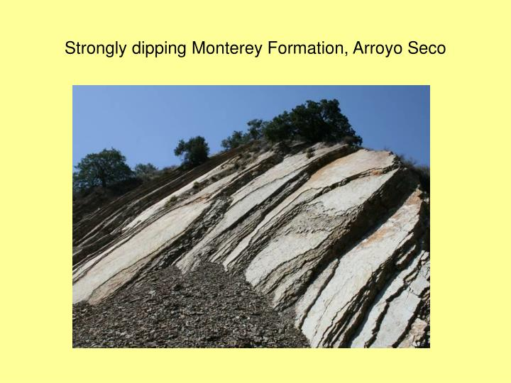 Strongly dipping Monterey Formation, Arroyo Seco