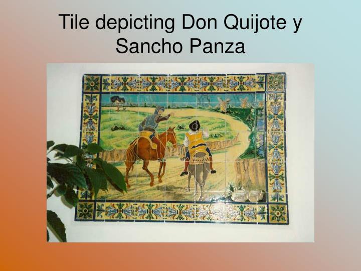 Tile depicting Don Quijote y Sancho Panza