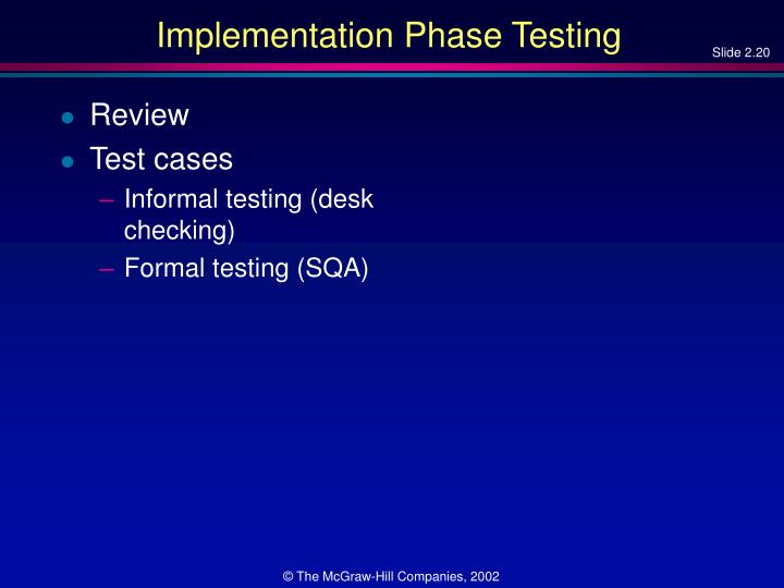 Implementation Phase Testing