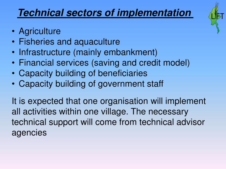 Technical sectors of implementation